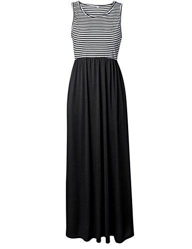 Très Chic Mailanda Sommerkleid Damen Partykleid Lang Chiffon High Waist Striped Sleeveless Beach Kleid Elegant (Large, 01-Schwarz)