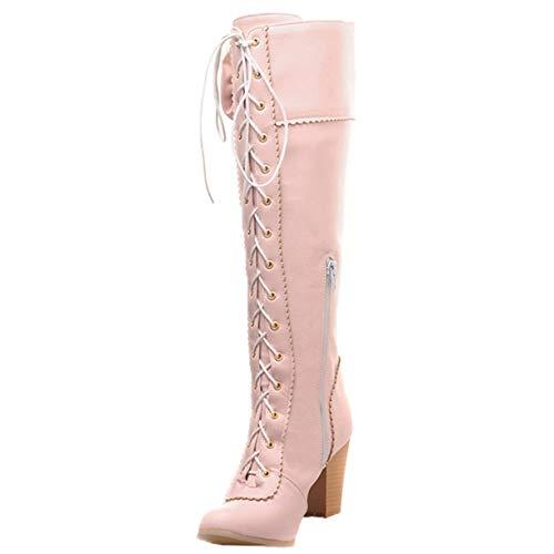 765a79bd004aec JYshoes Langschaft Stiefel Blockabsatz Kniestiefel High Heels  Langschaftstiefel zum Schnüren Damen Schnür Stiefel mit Schleife Rosa 38EU