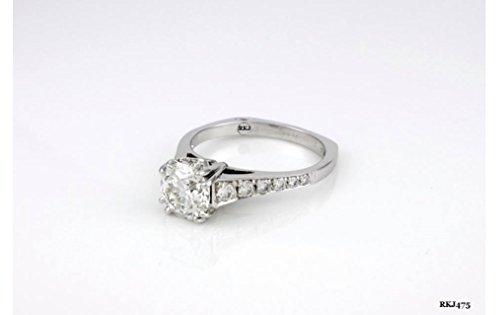 Solitario con diamante taglio brillante rotondo 1,75ct 14K oro bianco massiccio Vintage Donna Anniversario Matrimonio Fidanzamento Anello, tutti UK Misura H a
