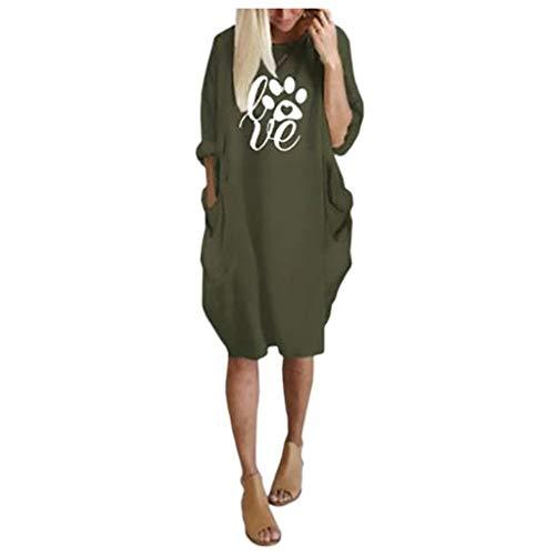 Vestito da donna largo, a maniche lunghe, con stampa a lettere stampate, con tasche, da donna, casual, pullover per feste, vestito alla moda, taglie forti dalla 40 alla 56 green 4xl