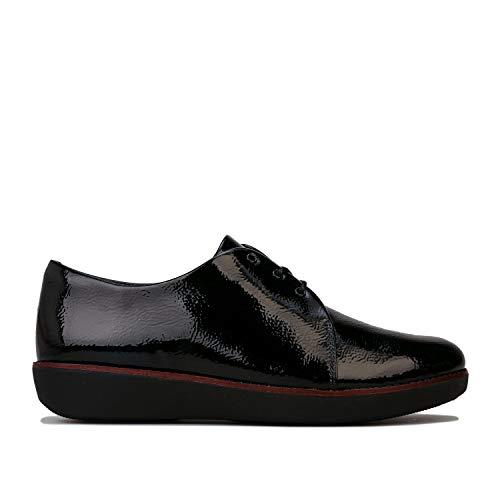 Fitflop Derby, Zapatos de Cordones y Bluchers para Mujer, Negro Black, 37 EU