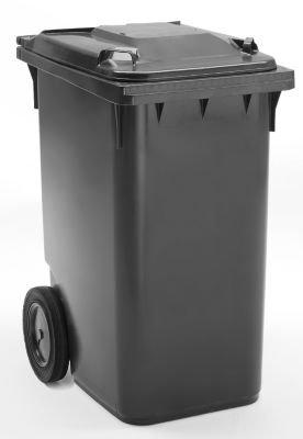 Großmülltonne aus Kunststoff, nach DIN EN 840 - Volumen 360 l, HxBxT 1100 x 600 x 874 mm, Rad-Ø 300 mm - anthrazit - Abfalltonne Müllkübel Müllsammler Mülltonne