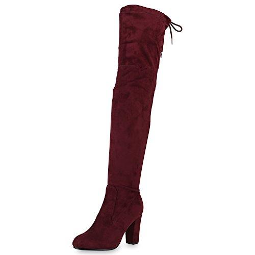 SCARPE VITA Damen Stiefel Overknees 70's Langschaft Boots Blockabsatz 165378 Dunkelrot - 70's Fashion Kostüm