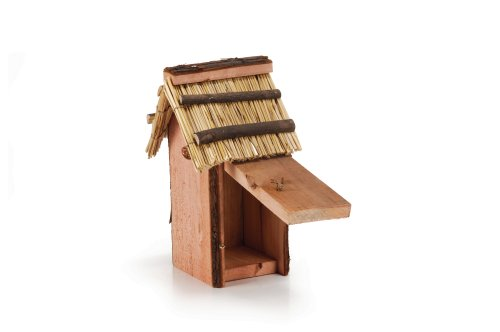 NISTKASTEN für Vögel (ZAUNKÖNIG), HOLZ mit RIETDACH, 19X15X31 cm
