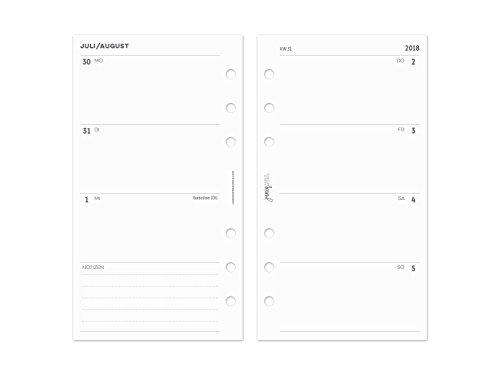 """2018/2019 Kalender""""Zeilen"""" für Ringplaner & Organizer - Personal - 95x171mm - 1 Woche auf 2 Seiten"""