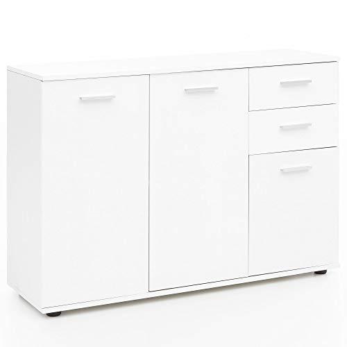 Wohnnling Allzweck Kommode mit Türen sund Schubladen in weiß; Maße (B/T/H) in cm: 107 x 35 x 104 -