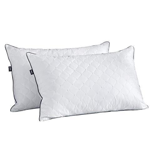 UMI. Essentials Blanco Ganso Almohadas de Pluma con Tejido 100% Algodón, 48 X 74 cm X 5cm Bordado Dot...