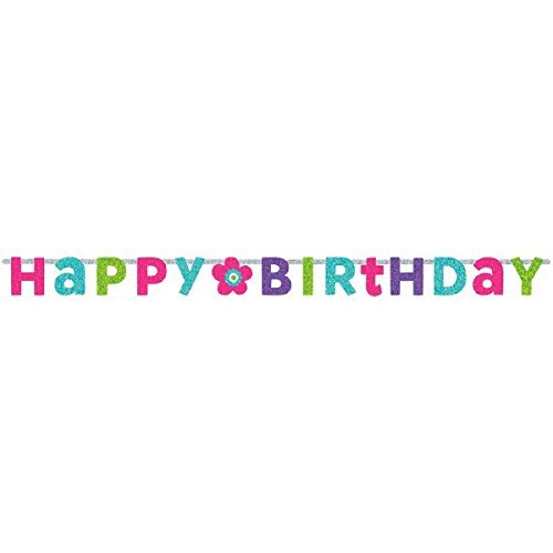 Charming Purple and Teal Birthday Party Prismatic Letter Banner Decoration, Multi , 8 Feet x 6 1/2 cardboard paper by TradeMart Inc. (Und Purple Teal Party)