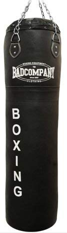 Bad Company Boxsack inkl. Heavy Duty Vierpunkt-Stahlkette I Leder Punching Bag, gefüllt I 120 x 35 cm - Schwarz