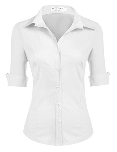HOTOUCH Damen Kurzarm Bluse Hemd Damenbluse Damenhemd Figurbetont Bluse Weiß Tupfen M