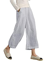 b8364054ae3b0 Ecupper Women s Plus Size Elastic Waist Cotton Capri Pants Relaxed Loose  Casual Cropped Trousers