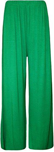 Nouveaux Femmes Larges jambe Flared Plaine palazzos Pantalons Jade Green