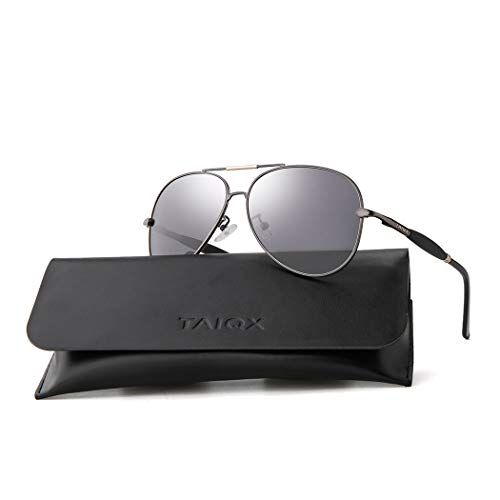 TAIQX Aviator Sunglasses Polarized Lens Metal Frame Lightweight Men Women -