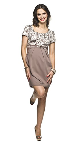 *2in1 elegantes und bequemes Umstandskleid / Stillkleid, Modell: RONJA, beige, Größe M*