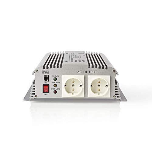 TronicXL Profi Wechselrichter LKW Boot Wohnmobil 24V DC AC 230v 230 V 1700W modifizierte Sinuswelle Spannungswandler Batterie 2 Stück Schuko Steckdose Adapter Konverter Converter Strom für Camping