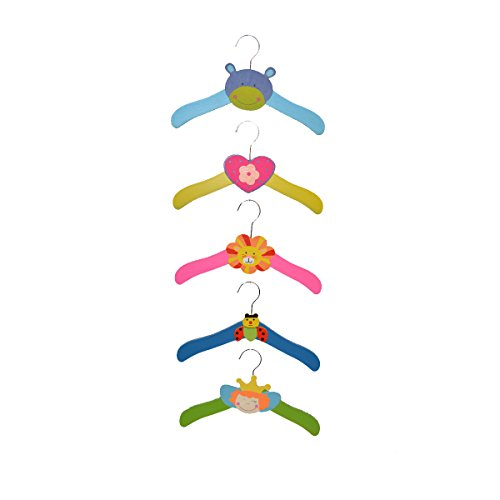Baby Bucket Cute Cartoon Animal Wardrobe Wooden Baby Children's Clothes Hanger Coat Rack(Random Color: 5 Pcs)  available at amazon for Rs.350