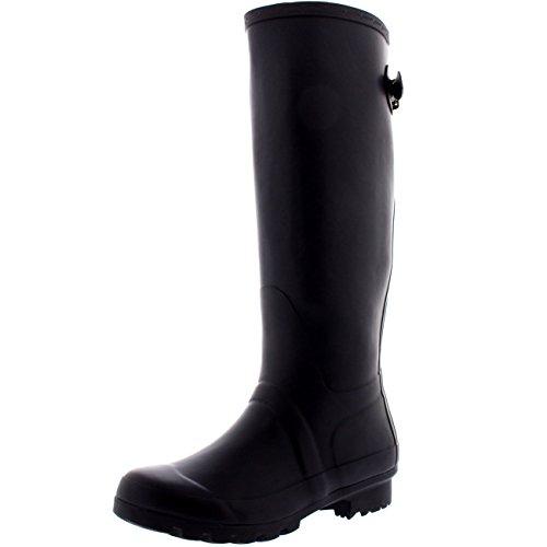 Womens Adjustable Back Tall Winter Rain Wellies Waterproof Wellington Boot