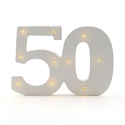 Geburtstagsdeko, Jahrestag, LED Jubiläumszahl 50 | knuellermarkt.de | Holz-Zahl, Goldhochzeit, Goldhochzeit, Lämpchen, mit Beleuchtung, Batteriebetrieben, beleuchtet, Leuchtzahl