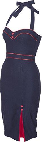 Küstenluder VERLA Fifties Pin Up Neckholder PENCIL DRESS Kleid Rockabilly Sehr dunkles Nachtblau / Rot