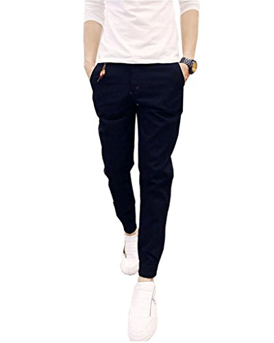 Minetom Pantalons pour Hommes, Garçons Pantalons Casual Jogging Sarouel Pants Svelte Pantalon Noir