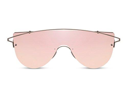 Cheapass Sonnenbrille Groß Pink Rosé-Gold UV-400 Metall-Rahmen Männer Frauen
