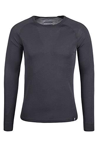Wolle-unterwäsche Langarm (Mountain Warehouse Merino Langarm Baselayer-Thermotop für Herren - Leichtes T-Shirt, warm, antibakteriell, schnelltrocknend - Ideal bei kaltem Wetter Winter Baselayer Dunkelgrau Large)