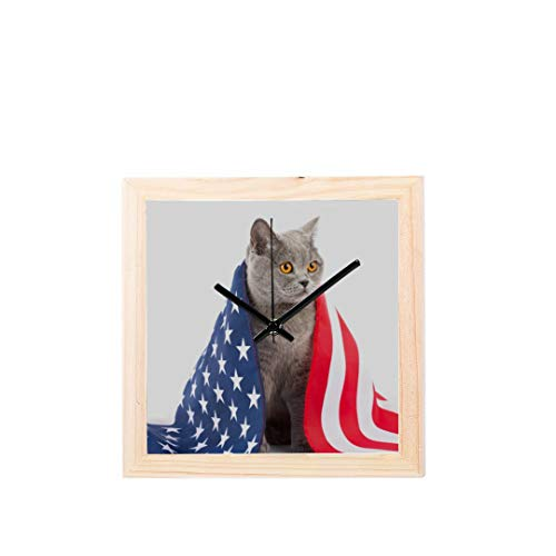Wietops Nette lustige Katze mit Flagge Nicht tickt Platz stille Holz Diamant große Display digital Batterie wanduhren malerei zifferblatt für küche Kind Schlafzimmer Home Office Decor