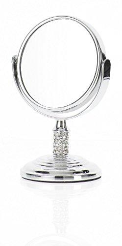 Danielle Mini miroir à pied grossissant x 4 avec boule en verre Chrome 8,5 cm