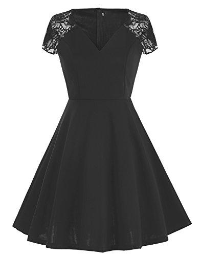 Dressystar Femme robe vintage soirée/bal Retro Floral à col en V à mancheron dentelle/Lace Cap Sleeve Noir