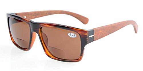 Eyekepper Qualitaet Federscharnier Holz Buegel Bifokale Sonnenbrillen Braun +2.0