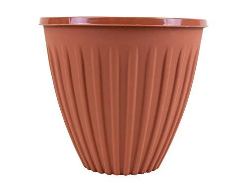 St@llion, fioriera rotonda in terracotta, design contemporaneo, vaso per piante da giardino e albero
