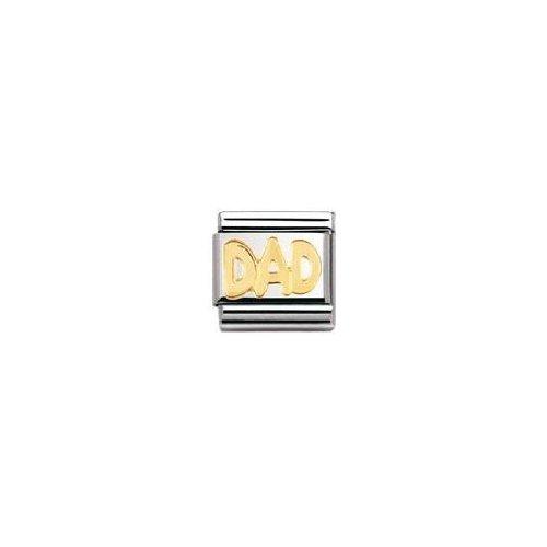 Nomination Composable Classic SCHRIFTZUGE Edelstahl und 18K-Gold (DAD) 030107 (Baby Charm Gold)