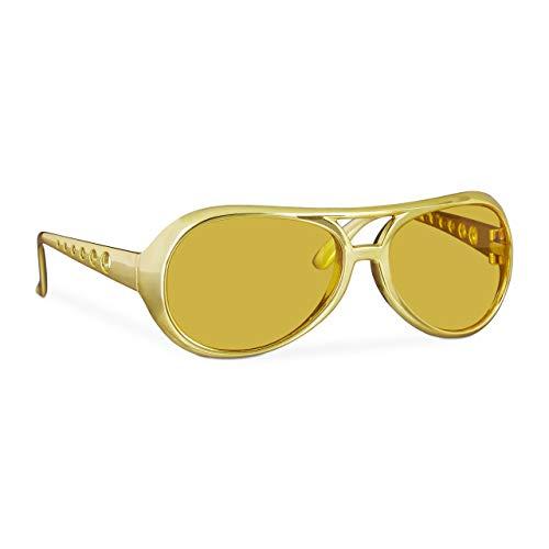 Relaxdays 10024248 Rapper, lustige Rapper & Proll, Kostüm, große Zuhälter Brille für Karneval und Mottopartys, Gold, Unisex- Erwachsene, - Zuhälter Kostüm