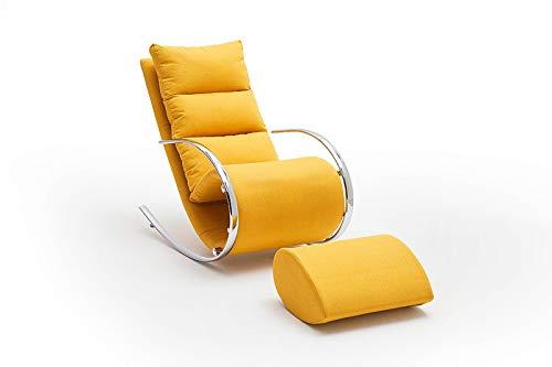 lifestyle4living Relaxsessel mit Hocker in gelb, Chrom | Schaukelstuhl in modernem Design | Der perfekte Wohnzimmersessel für entspannte Lange Fernseh- und Leseabende
