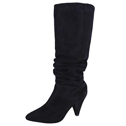 DEELIN Damen Overknee Stiefel Solide Sexy High Heel Stiefel Frauen Flock Party Schuhe