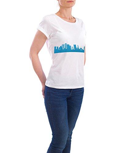 """Design T-Shirt Frauen Earth Positive """"BOSTON 05 Skyline Print monochrome Teal"""" - stylisches Shirt Abstrakt Städte Städte / Boston von 44spaces Weiß"""