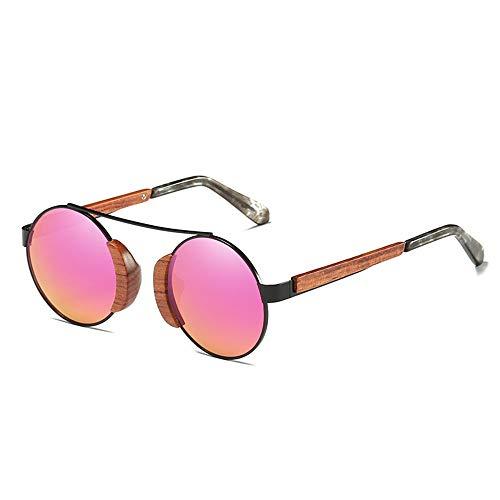 FURUDONGHAI UV 400 Schutz Unisex Retro Coating Film Sonnenbrille Holzrahmen Polarized Weak Resin Lens HD Visuelle Stiff Impact Pink besonders geeignet für sommerreisen oder Outdoor s (Farbe : Pink)