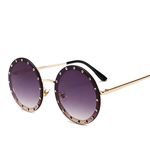 MoHHoM Sonnenbrille Oversized Runde Niet Designer Sonnenbrille Frauen Vintage Metallrahmen, Klare Gläser Sonnenbrillen Sportbrillen Rosa Gelb Blau Gold Grau