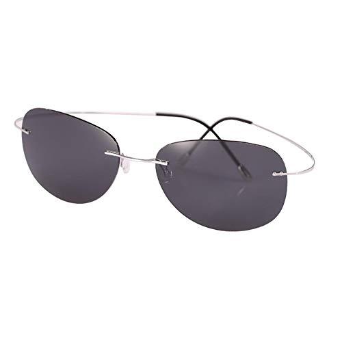 KISlink 90% Titan Ultraleichte Sonnenbrille - Polarisierte Rahmenlose Fahrbrille - Unisex (Farbe: Silber/Esche Schwarz)