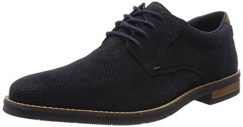 Wildleder Schuhe (Rieker Herren 13501-14 Obermaterial Leder Derby, Blau (Pazifik/Mogano 14), 42 EU)