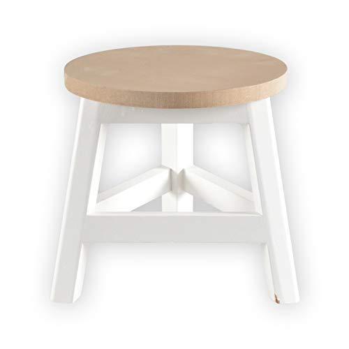 DRULINE Holzhocker Sitzhocker Beistellhocker Blumenhocker Schemel Abstellplatz zur Dekoration aus Holz im Shabby-Chic Stil | L x B x H 18 x 18 x 18.5 | Weiß Natur