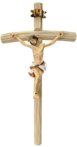 Kaltner Präsente Geschenkidee - Wandkreuz Kruzifix mit Jesus Christus Figur auf Kreuz aus Holz 25 cm von Hand bemalt