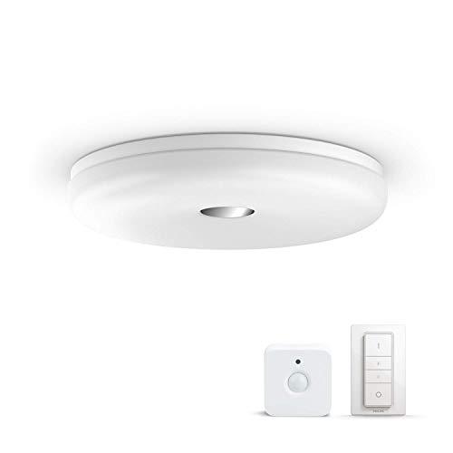 Philips Hue LED Deckenleuchte / Badezimmerleuchte Struana inkl. Dimmschalter & Hue Sensor, dimmbar, alle Weißschattierungen, steuerbar via App, weiß, kompatibel mit Amazon Alexa (Echo, Echo Dot)