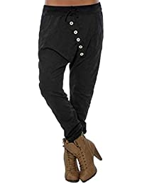 33a74a26343e Koly Pantalon Sarouel Femme Chic Yoga Sport Pantalon Taille Haute Large  Palazzo Pantalons Bouffant Amples Grande