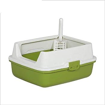 D&D Bassin de litière pour Animaux de Compagnie Grand écran Cat Sand Shovel Déodorant Toilette Semi-fermée Fournitures pour Chats,Green