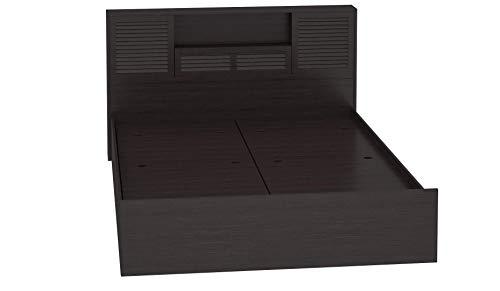 DeckUp Noordin Queen Size Engineered Wood Bed With Box Storage (Plywood - Dark Wenge)