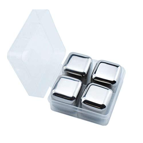 Rifuli® Steine Edelstahl Eiswürfel Whisky Ice Cubes Eiswürfelzange Die wiederverwendbaren Eiswürfel Edelstahl Eiswürfel Wiederverwendbare Metallkühlsteine   mit Whisky halten kalt(4PC)