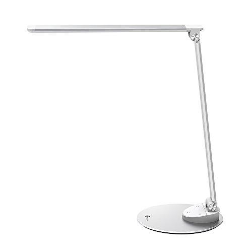LED Schreibtischlampe Metall TaoTronics Tageslichtlampe, 5 Helligkeitsstufen und 5 Farbtemperaturen–3000K, 3500K, 4000K, 5000K und 6000K, ultradünne Aluminiumlegierung, berührungsempfindlich und blendfrei, Merkfunktion, USB-Ladeanschluss 5V 1A