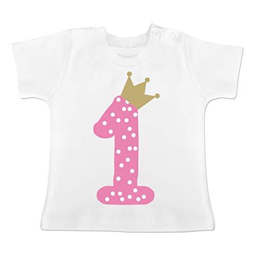 Geburtstag Baby - 1. Geburtstag Krone Mädchen Erster - 12-18 Monate - Weiß - BZ02 - Baby T-Shirt Kurzarm