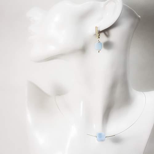 Hellblaues Edelstein-Set aus echtem Aquamarin und 925 Sterling-Silber